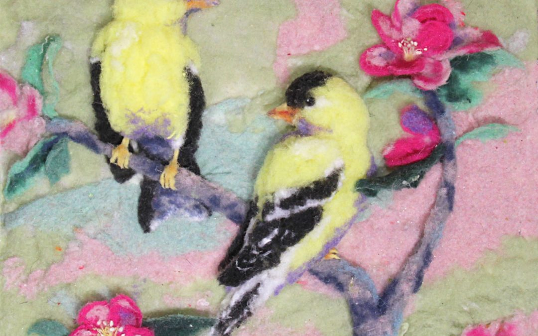 Yellow Finches with Cherry Blossoms